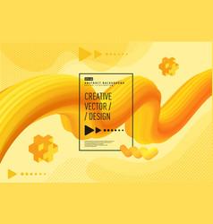 modern liquid abstract 3d background golden yellow vector image