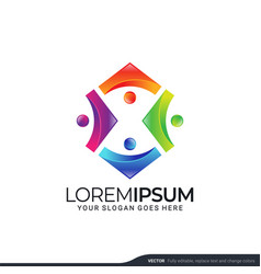 Modern people logo gather with abstract style vector