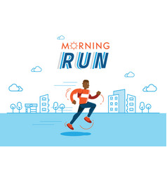 Morning run with building background vector