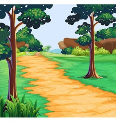 Nature scene with tree along trail vector