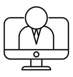Online financial advisor icon outline style vector