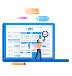 Online job search laptop with newspaper on screen vector