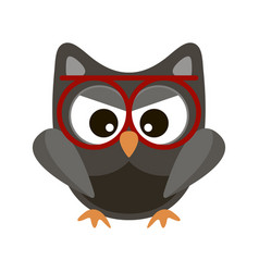 owl funny stylized icon symbol brown colors vector image