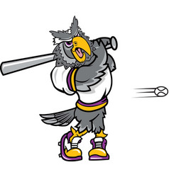 owl sports logo mascot baseball vector image