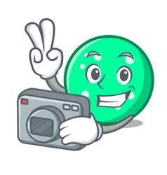 photographer circle mascot cartoon style vector image