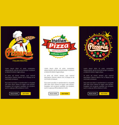 pizzeria and chef with plate vector image