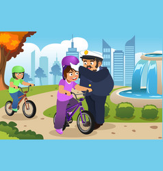 Police officer putting on helmet on a kid riding vector