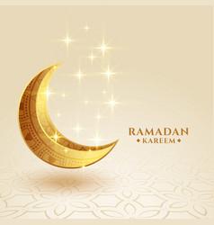 Ramadan kareem golden crescent moon sparkling vector