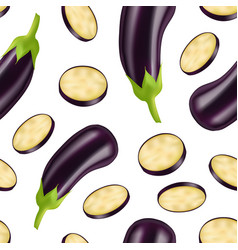 realistic detailed 3d eggplant and slice seamless vector image
