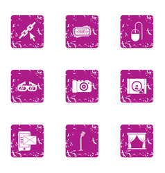 Recording of the concert icons set grunge style vector