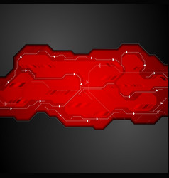 red and black abstract technology background vector image