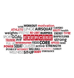 red and black exercise word cloud vector image