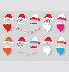 santa claus fashion hipster style set icons vector image