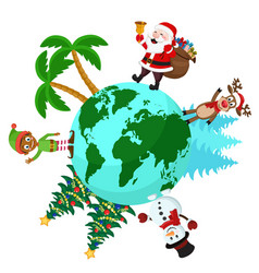 santa with a bag of gifts goes around the earth vector image