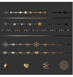 Set of golden elements for borders and cards vector