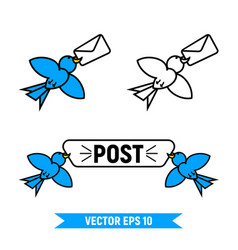 set of post birds logo vector image