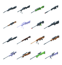 Sniper weapon icons set isometric style vector
