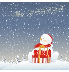 Snowman on Christmas eve vector