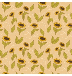 Spring seamless sunflowers background vector image