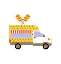 Street ice cream truck food caravan ice cream vector