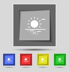 sunset icon sign on original five colored buttons vector image