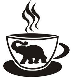 Tea cup with elephant vector image