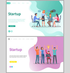 teamwork strategy and success startup web vector image