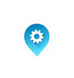 Technology geotag or location pin logo icon design vector