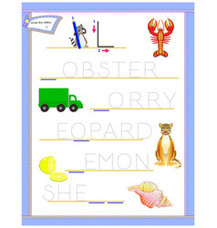Tracing letter l for study english alphabet vector