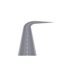 turned highway with markings element vector image