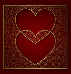 two hearts patterned background vector image