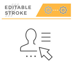user profile editable stroke line icon vector image