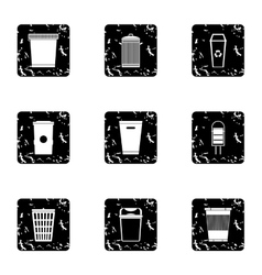 Waste rubbish icons set grunge style vector image