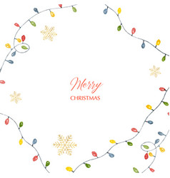 watercolor christmas card with colorful vector image