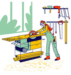 Woman work in carpentry shop concept girl vector