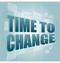 words time to change on digital screen time vector image
