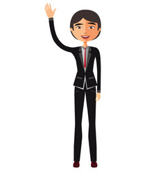 Young asian business man waving her hand vector