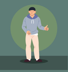 Young asian guy wearing casual clothes vector