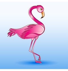 a pink flamingo standing on a blue vector image vector image