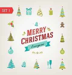 Christmas retro icons logo elements vector image