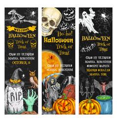 Halloween pumpkin ghost skull chalkboard banner vector