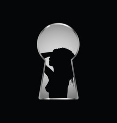 Keyhole with girl silhouette pose vector