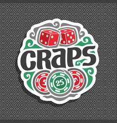 logo for craps gamble vector image vector image