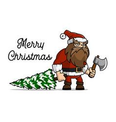 santa claus a lumberjack cut a christmas tree for vector image vector image