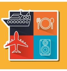 travel icon set design flat vector image vector image
