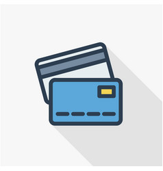 bank card thin line flat color icon linear vector image vector image