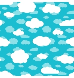 Bright turquoise blue sky and white clouds vector image