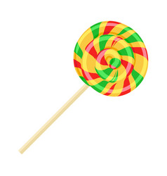 caramel striped candy on stick isolated funny vector image