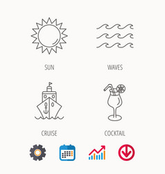 cruise waves and cocktail icons vector image vector image