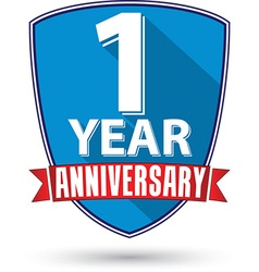 Flat design 1 year anniversary label with red vector image vector image